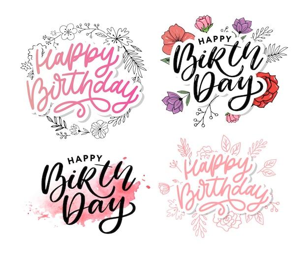 Conjunto de estilo de script de escova de feliz aniversário