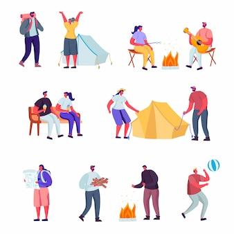 Conjunto de estilo de vida ativa plana fora da cidade em caracteres de acampamento de verão