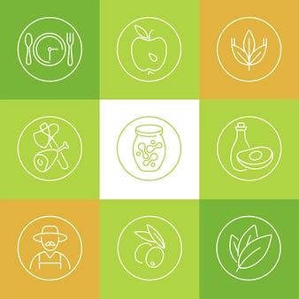 Conjunto de estilo de vida saudável e ícones de conceitos relacionados em fundo verde, branco ou laranja