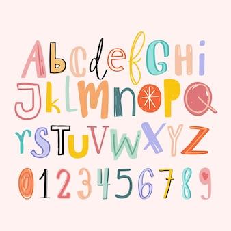 Conjunto de estilo doodle desenhado à mão de alfabetos