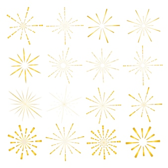 Conjunto de estilo dourado sunburst isolado no fundo branco.