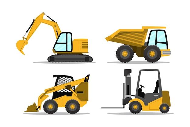 Conjunto de estilo ilustrado de escavadeira