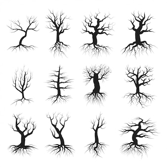 Conjunto de estilo plano de árvore morta