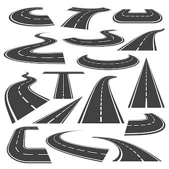 Conjunto de estilo plano de ícone de estradas curvas