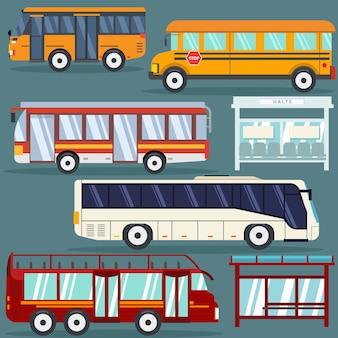 Conjunto de estilo plano de ônibus isolado