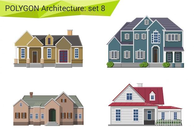 Conjunto de estilo poligonal de casas e edifícios de campo e subúrbio.
