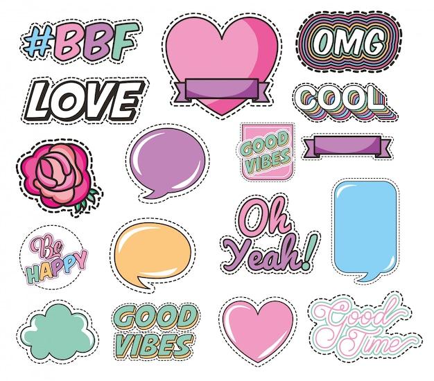 Conjunto de estilo pop art de mensagens e amor