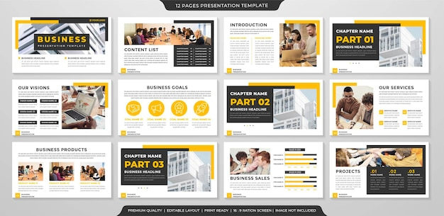 Conjunto de estilo premium de modelo de layout de powerpoint