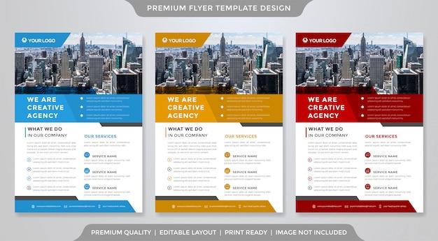 Conjunto de estilo premium de modelo de panfleto de negócios