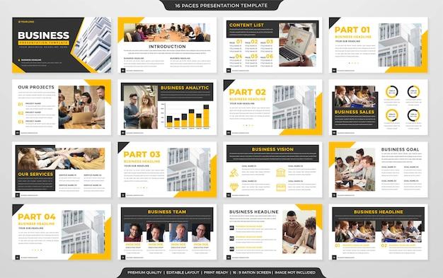 Conjunto de estilo premium de modelo de powerpoint de negócios