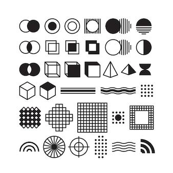 Conjunto de estilo retro geométrico de memphis do vetor preto.