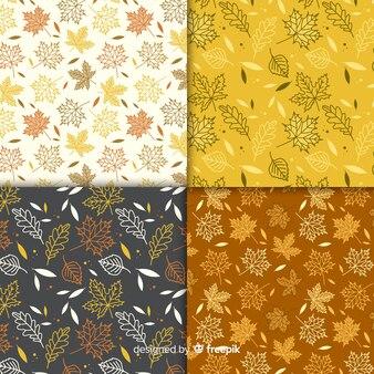 Conjunto de estilo simples de padrões de outono