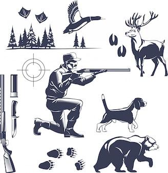 Conjunto de estilo vintage de caça