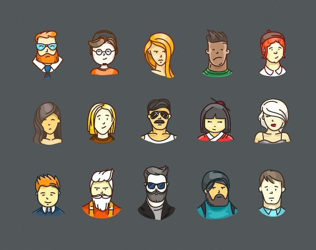 Conjunto de estilos de avatares de cores
