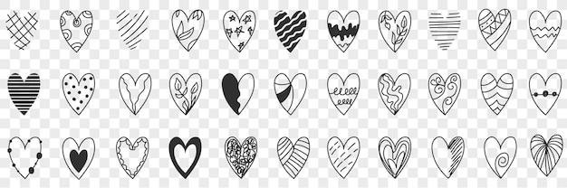 Conjunto de estilos de doodle de coração