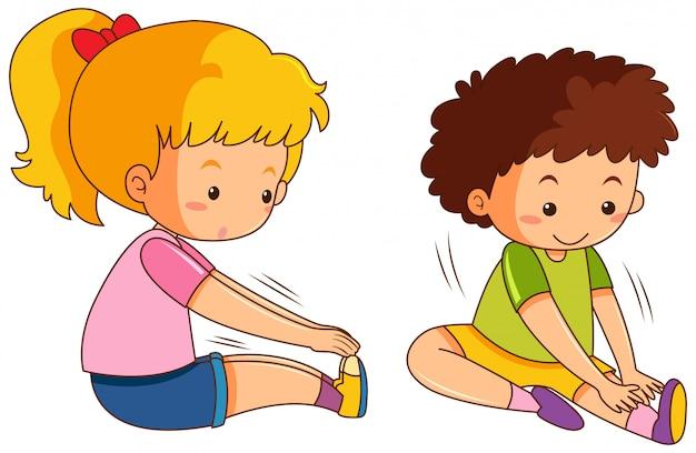 Conjunto de estiramento de menino e menina