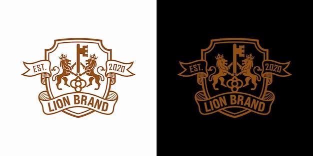 Conjunto de estoque de design de luxo de logotipo chave lion