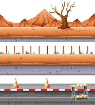 Conjunto de estrada deserta