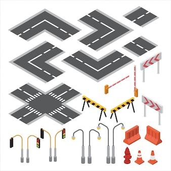 Conjunto de estrada e semáforo, cone, luz de rua, marcando para mapa isométrico