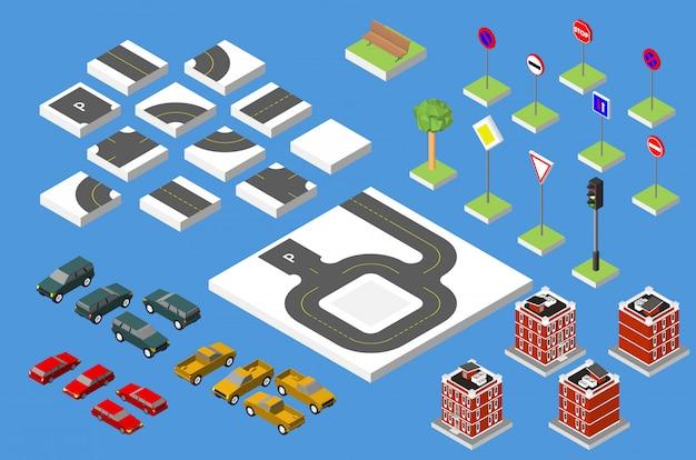 Conjunto de estrada isométrica e carros de vetor.