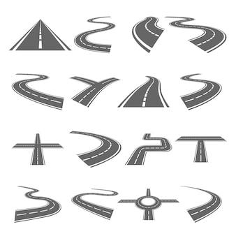Conjunto de estradas curvas