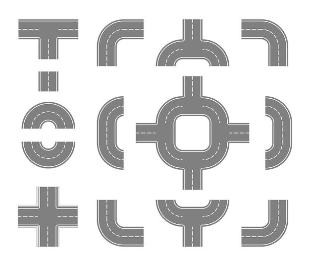 Conjunto de estradas planas cruzamento de elementos de rua para criação de mapa da cidade vetor de partes de asfalto de rodovia