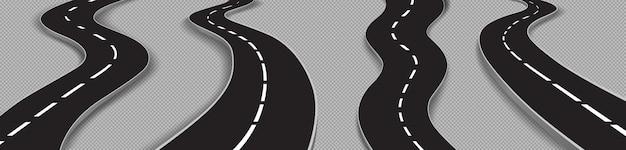 Conjunto de estradas sinuosas, estradas curvas para carros