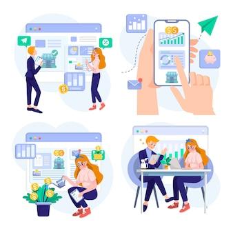 Conjunto de estratégia de planejamento de negócios de inicialização e ilustração do conceito de empreendedor