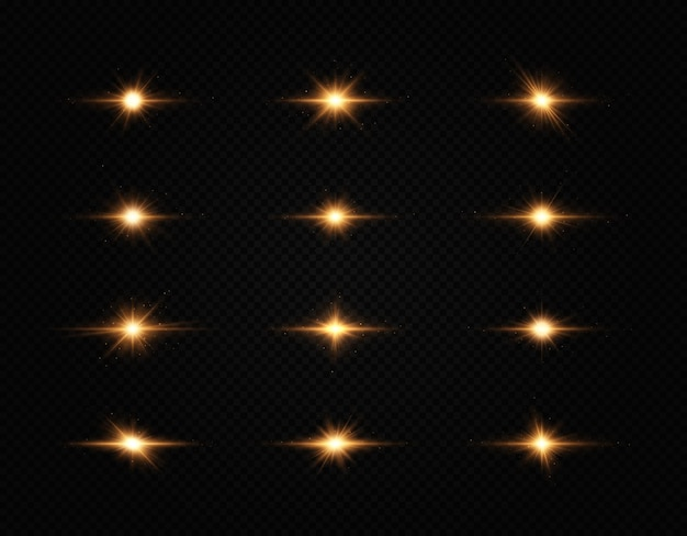 Conjunto de estrela brilhante a luz dourada brilhante explode em um fundo transparente