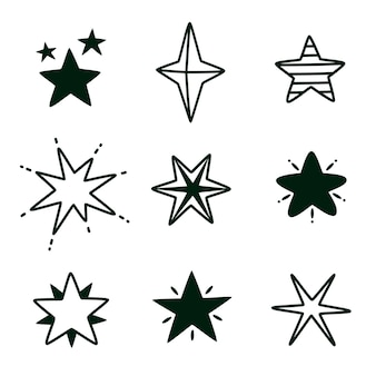 Conjunto de estrela de doodle desenhado à mão