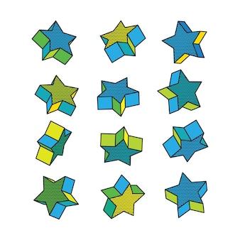 Conjunto de estrelas 3d isométricas no estilo pop art.