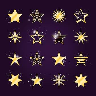 Conjunto de estrelas astrais. ícones de estrelas douradas cintilantes e claras