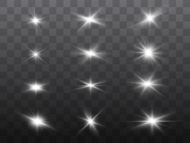 Conjunto de estrelas bonitas brilhantes