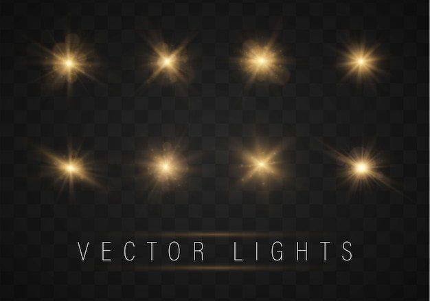 Conjunto de estrelas brilhantes brilhantes ouro com efeito de brilho