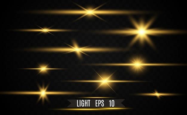 Conjunto de estrelas brilhantes brilhantes ouro. efeito de luz bright star.
