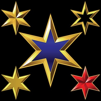 Conjunto de estrelas brilhantes de seis pontas douradas