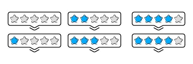 Conjunto de estrelas com classificação de 1 a 5. classificação e crítica positiva. avaliação do cliente da qualidade da reputação do feedback online. avaliação de mercadorias, redação de avaliações de entrega, hotéis, para um site ou aplicativo
