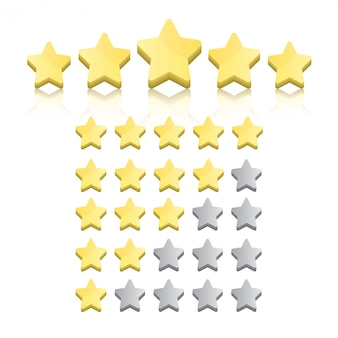 Conjunto de estrelas de avaliação isolado no branco