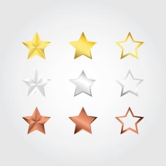 Conjunto de estrelas de classificação de bronze em ouro