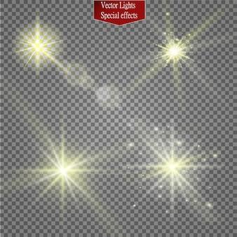 Conjunto de estrelas de efeito de luz brilhante.