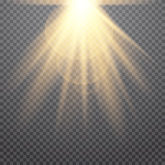 Conjunto de estrelas de luz brilhantes com brilhos. efeito de luz dourada.