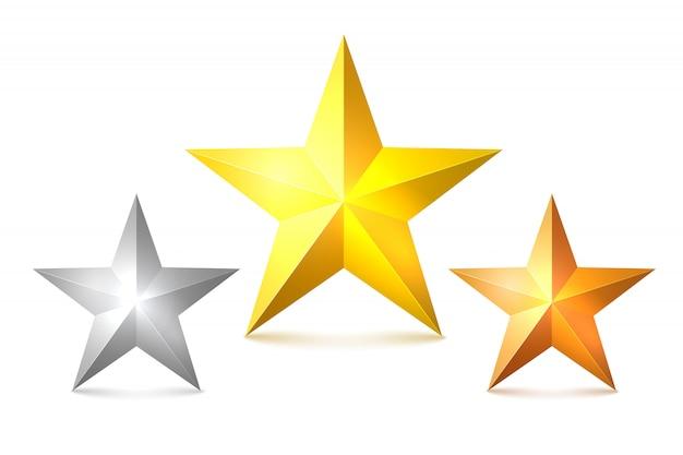 Conjunto de estrelas de ouro, bronze e prata. o símbolo da vitória, os vencedores do prêmio. ilustração vetorial