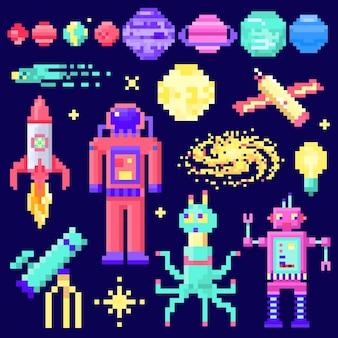 Conjunto de estrelas do espaço alienígena astronauta robô foguete e cubos de satélite planetas do sistema solar pixel art