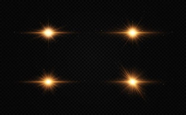 Conjunto de estrelas douradas brilhantes efeito de luz estrela brilhante estrela de natal
