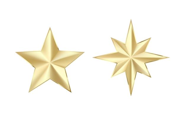 Conjunto de estrelas douradas com brilhos