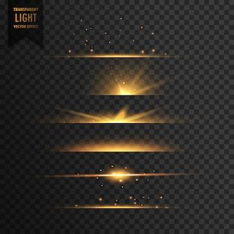 Conjunto de estrelas douradas luz transparente efeito de fundo