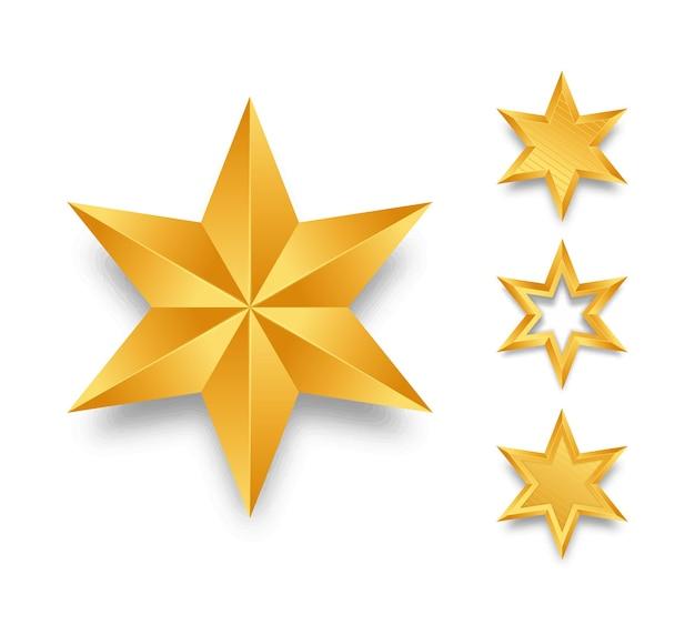 Conjunto de estrelas douradas realistas.