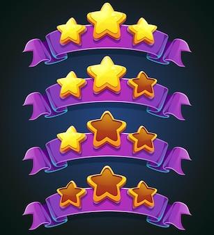 Conjunto de estrelas e fitas multicoloridas