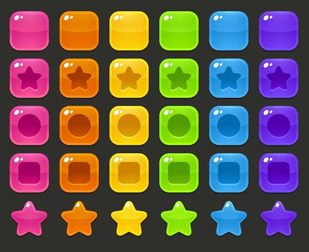 Conjunto de estrelas e quadrados coloridos brilhantes