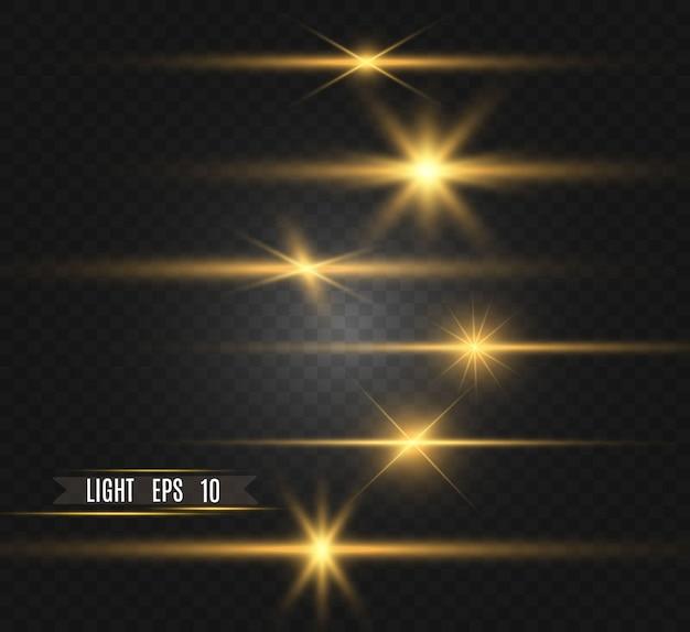 Conjunto de estrelas lindas brilhantes douradas efeito de luz estrela brilhante luz bonita